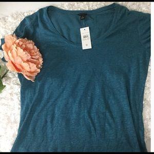 Ann Taylor Linen Teal T-Shirt